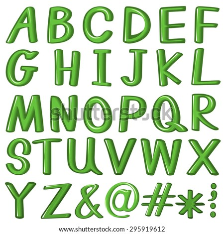 Green alphabet A to Z and other symbols
