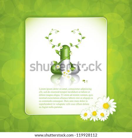 Green alternative medication concept - Herbal pill vector - stock vector