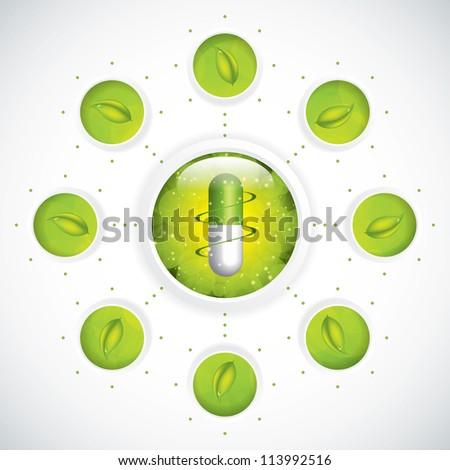 Green alternative medication concept - Medical background vector - stock vector