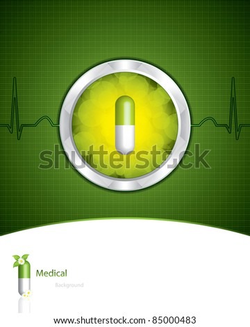 Green alternative medication concept - vector illustration - stock vector