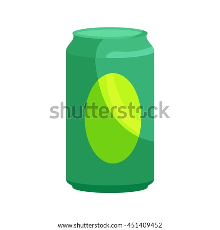 Green aluminum can icon in cartoon style on a white background - stock vector