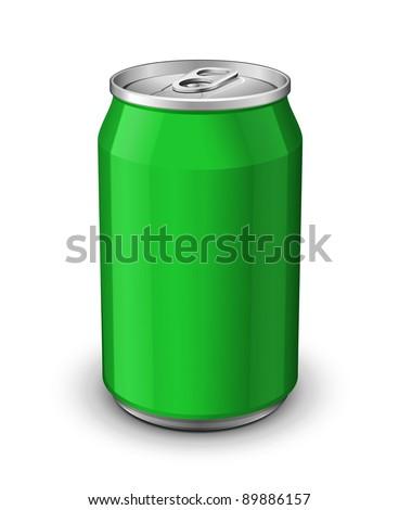Green Aluminum Can: Vector Version - stock vector