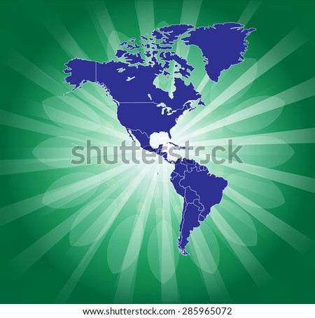 Green American Continent - Background Beaming - stock vector