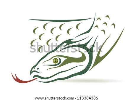 Green anaconda - vector illustration - stock vector