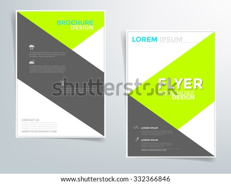 Green and black brochure template flyer design vector with sample text for A4 size - stock vector