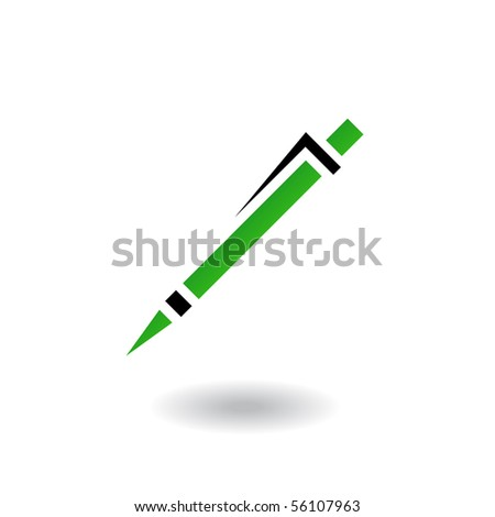 Green and black line art pen isolated on white