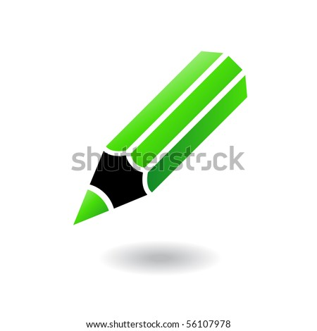 Green and black pencil isolated on white - stock vector
