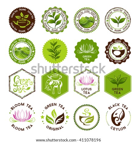 Green and black tea badges. Stamps collection. Decorative elements for package design - stock vector