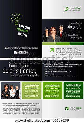 Green and black template for advertising brochure with business people - stock vector