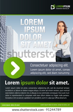 Green and black template for advertising brochure with woman on the city - stock vector