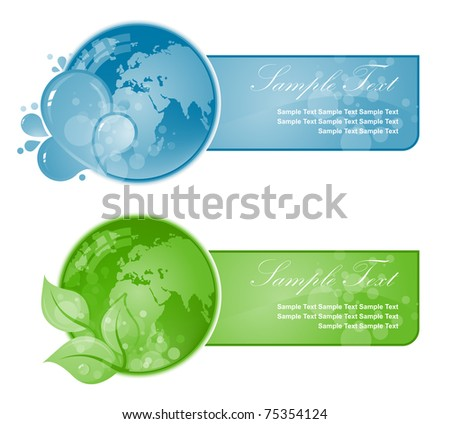 Green and Blue beautiful Earth on white background.Ecology illustration - stock vector