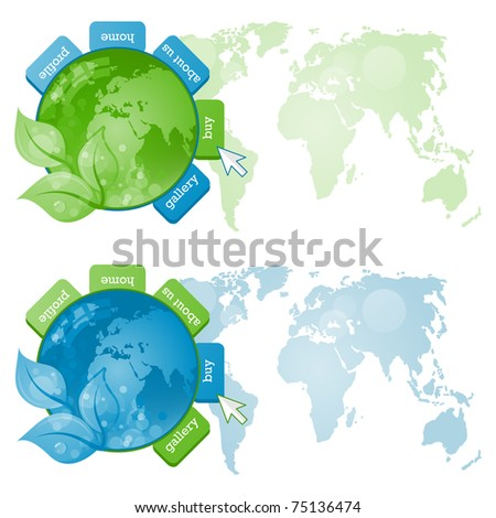 Green and Blue beautiful Earth on white background.Web ecology illustration - stock vector