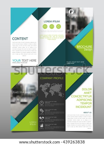 Green blue business three fold brochure stock vector for 3 folded brochure template