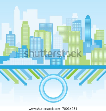 green and blue city background  - Vector illustration - stock vector