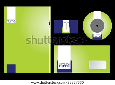 Green and blue corporate identity set