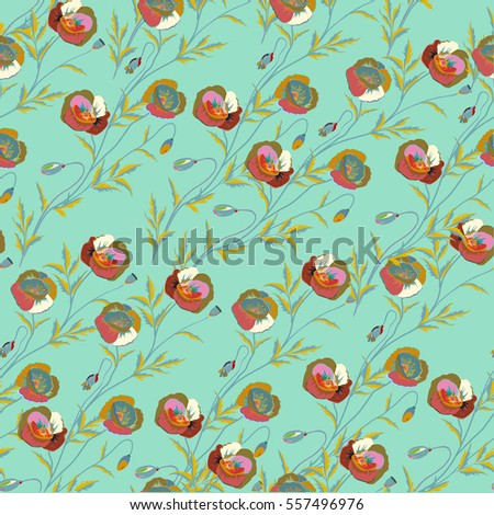 Green and blue flower petals, close up poppies, beautiful multicolored abstract seamless pattern.