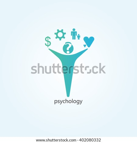 Green and blue gradients man for psychology logo design - stock vector