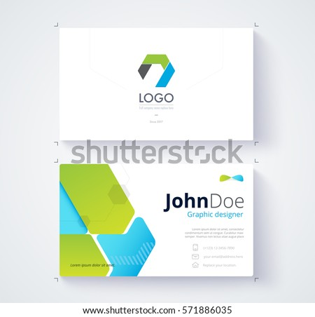 Green blue graphic business card template stock vector 2018 green and blue graphic business card template card design wajeb Gallery