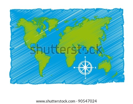 green and blue sketch of world map vector illustration