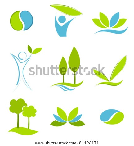 Green and blue symbols of eco life. Water and earth logo concepts - stock vector