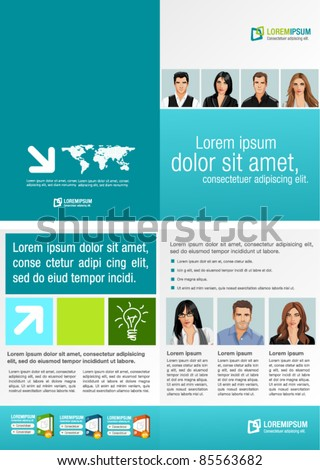 Green and Blue template for advertising brochure with business people - stock vector
