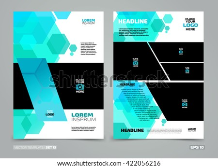 Blue Vector Leaflet Brochure Flyer Template Stock Vector 421422127