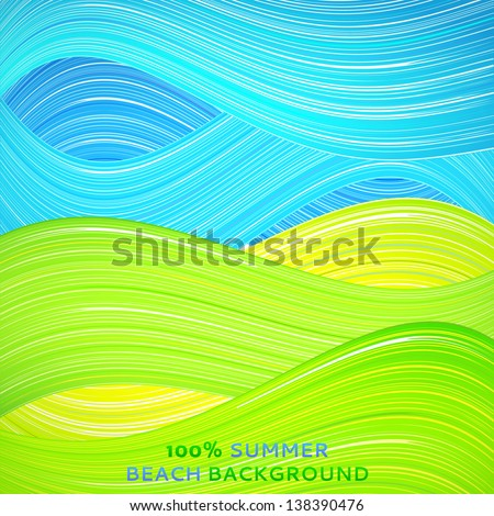 Green and blue wave background. Vector illustration for your bright natural design. Book cover. Ecological stripe wallpaper. Set of excellent summer wave. Abstract presentation of sky and ground. - stock vector