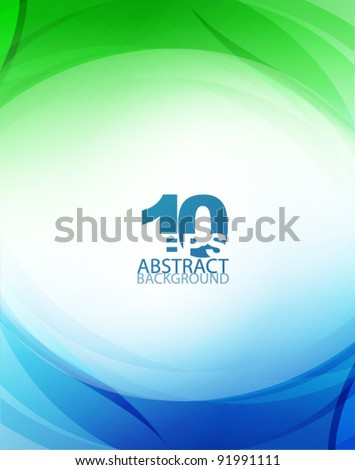 Green and blue waves - stock vector