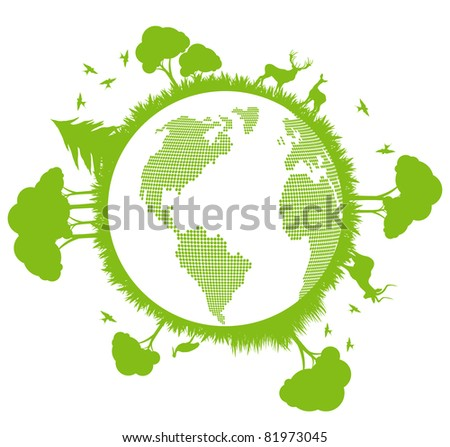 Green and clean ecology earth globe concept vector background with north nature - stock vector