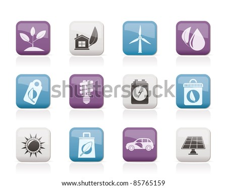 Green and Environment Icons - vector icon set - stock vector
