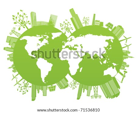 Green and environment planet background - vector illustration - stock vector
