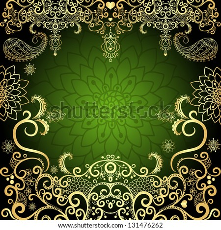 Green and gold luxurious filigree vintage floral frame (vector) - stock vector