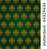 Green and gold vintage pattern - stock vector