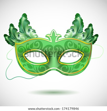 Green and golden carnival mask with feathers, Masquerade party mask - stock vector