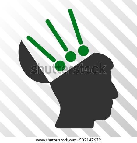 Green And Gray Open Mind Interface interface toolbar pictogram. Vector pictograph style is a flat bicolor symbol on diagonal hatch transparent background.
