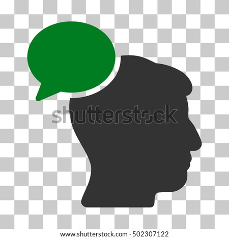 Green And Gray Person Idea toolbar icon. Vector pictograph style is a flat bicolor symbol on chess transparent background.
