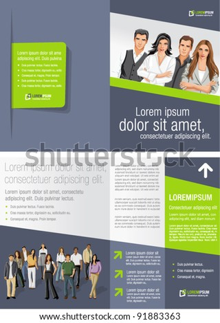 Green and gray template for advertising brochure with business people - stock vector