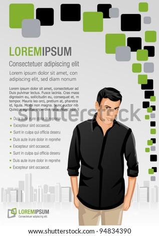 Green and gray template for advertising brochure with man on the city - stock vector