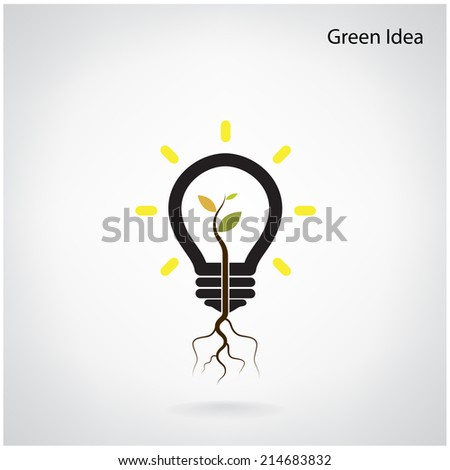 Green and initiative concept. Tree of green idea shoot grow in a light bulb. Vector illustration - stock vector