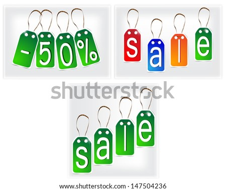 Green and multi-colored signs made of paper. Vector Eps 10