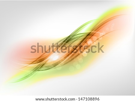green and orange abstract shapes - stock vector