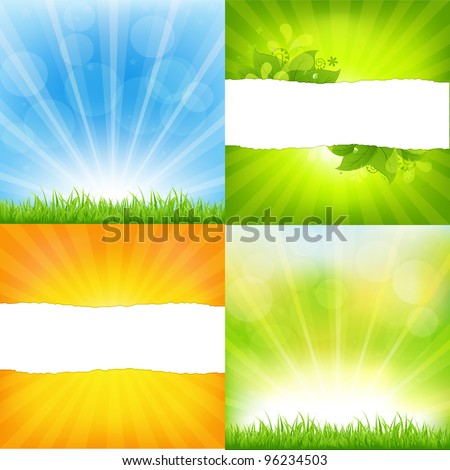 Green And Orange Backgrounds With Sunburst, Vector Background - stock vector