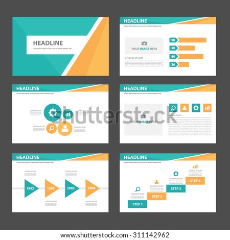 Green and orange multipurpose infographic element and icon presentation template flat design set for brochure flyer advertising and marketing - stock vector