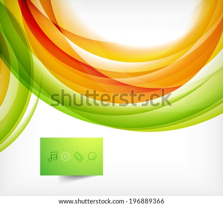 Green and orange wave abstract background with plate - stock vector