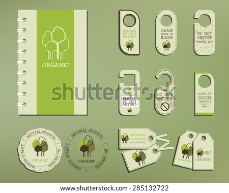 Green and organic corporate identity set template with tree elements. Vector company style for brandbook and guideline. Local company branding. Badges, logo, stickers and labels. Illustration. - stock vector