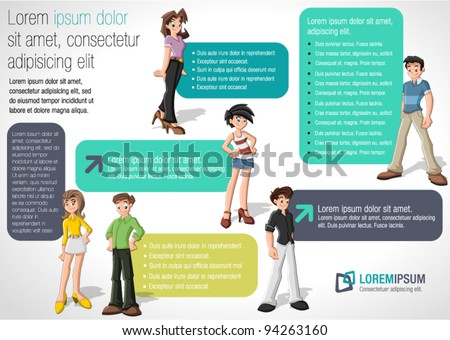 Green and purple template for advertising brochure with teenager students - stock vector
