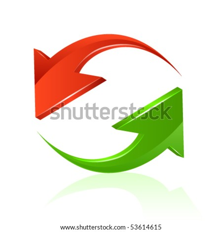 Green and red arrow - stock vector