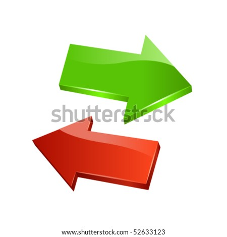 Green and red arrows. Vector - stock vector