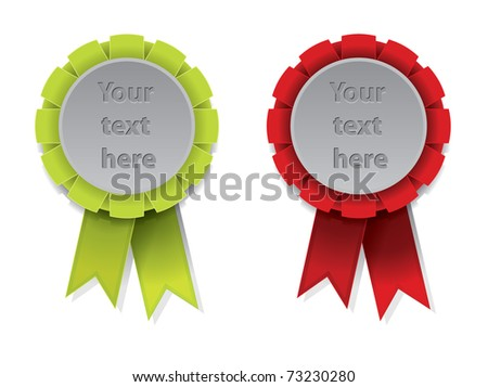 Green and red award badge with ribbon - stock vector