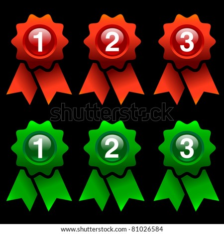 green and red award rosettes isolated on black background - stock vector